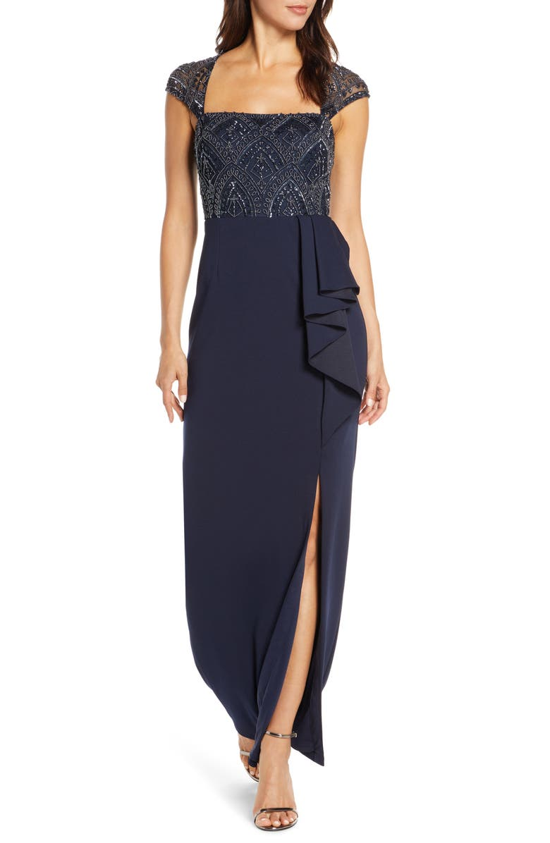 ADRIANNA PAPELL Beaded Bodice Evening Gown, Main, color, 401