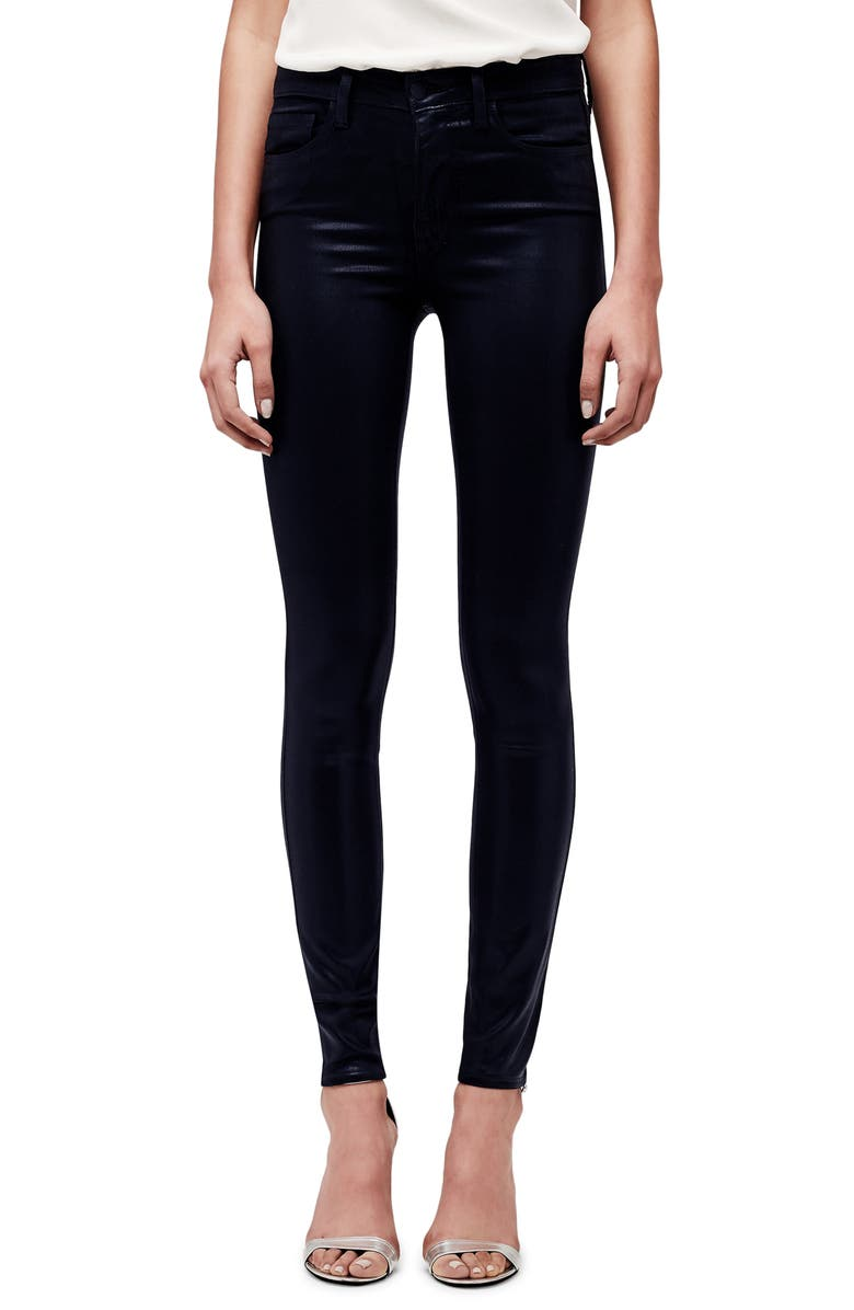 L'AGENCE Marguerite Coated High Waist Skinny Jeans, Main, color, NAVY COATED