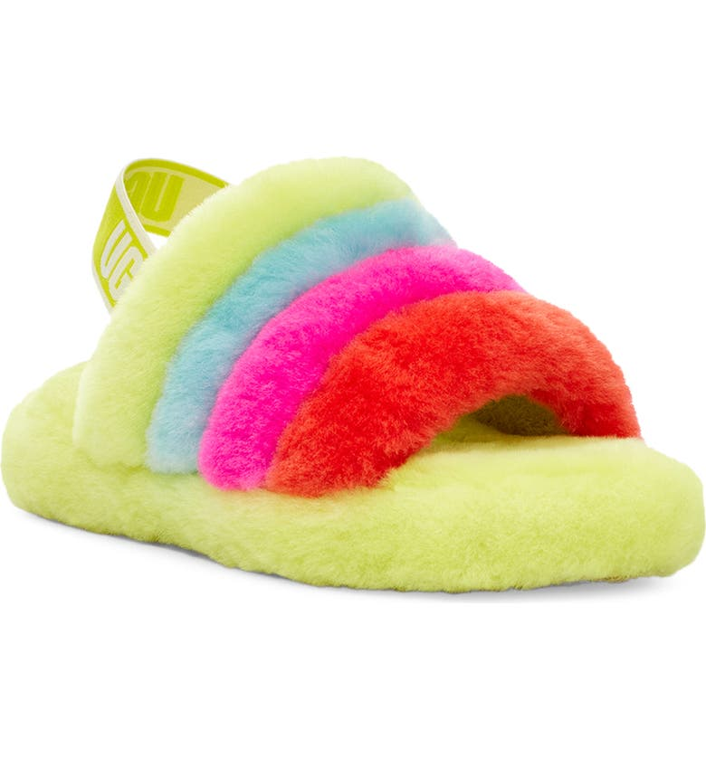 UGG<SUP>®</SUP> Fluff Yeah Slide Sandal, Main, color, NEON RAINBOW