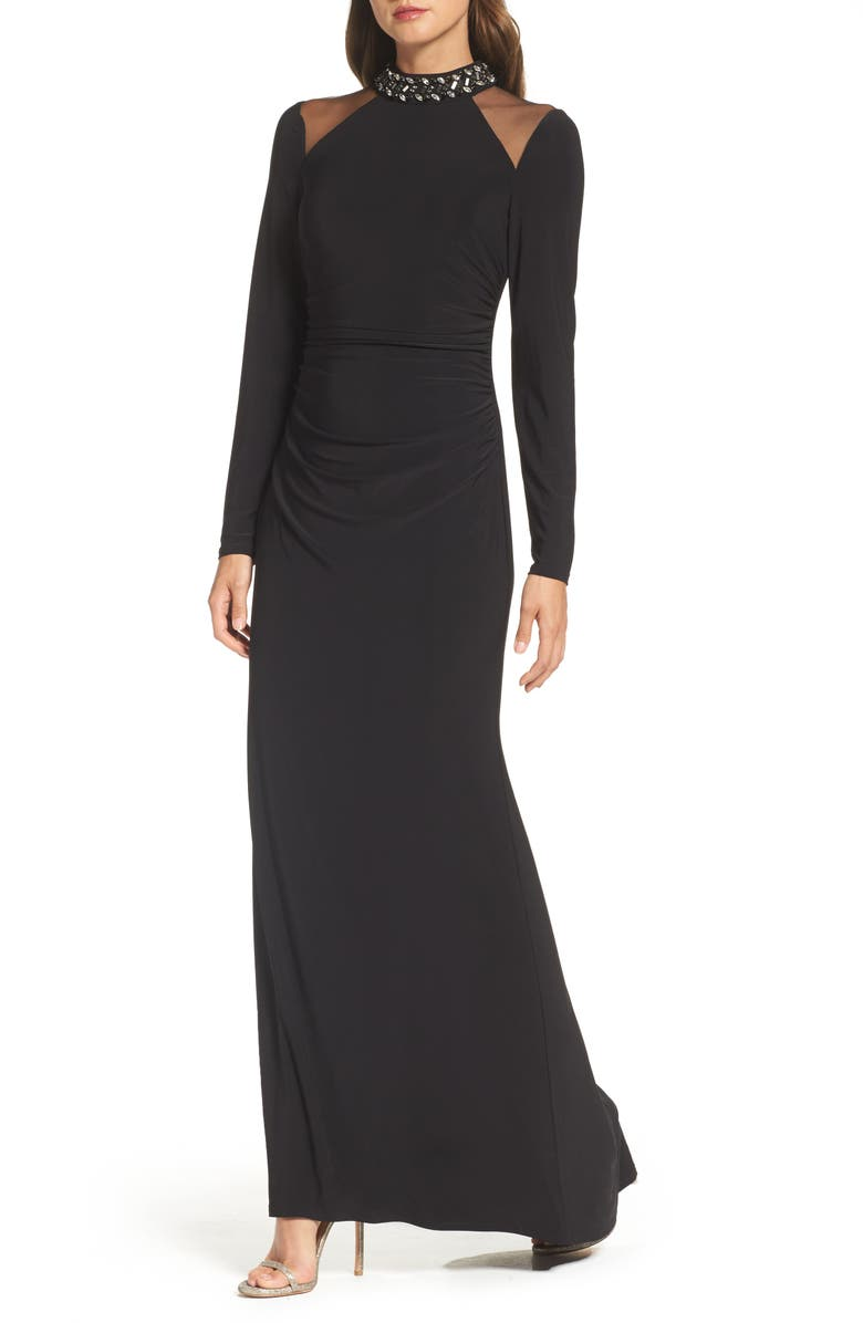 VINCE CAMUTO Mesh Panel Gown, Main, color, 001