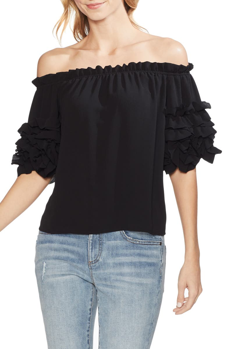 VINCE CAMUTO Off the Shoulder Ruffle Sleeve Blouse, Main, color, 006