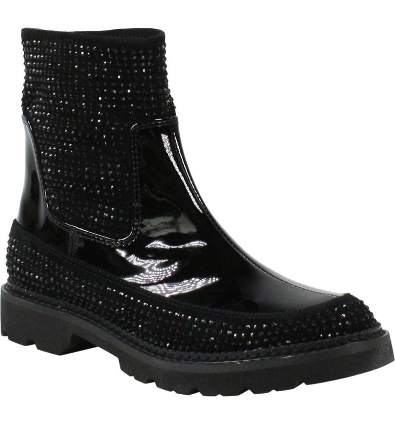 L'AMOUR DES PIEDS Riika Embellished Boot, Main, color, BLACK SUEDE/ LEATHER