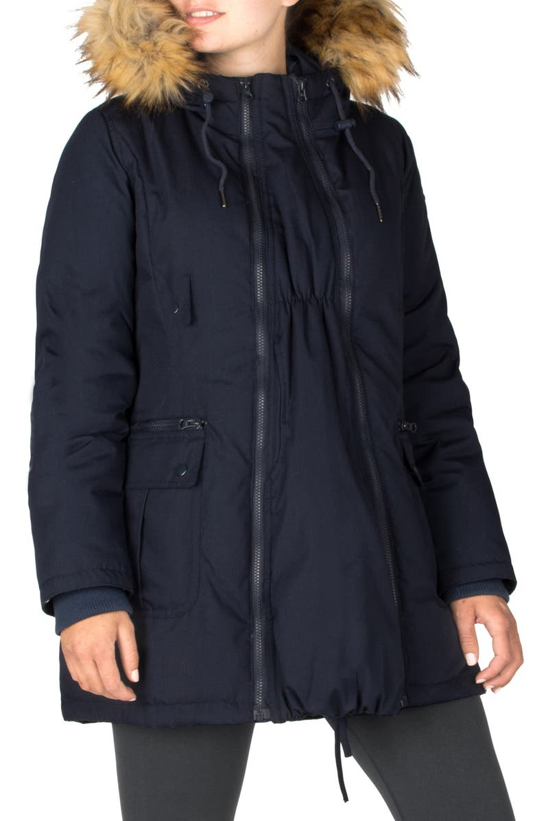 MODERN ETERNITY Convertible Down 3-in-1 Maternity Jacket, Main, color, NAVY