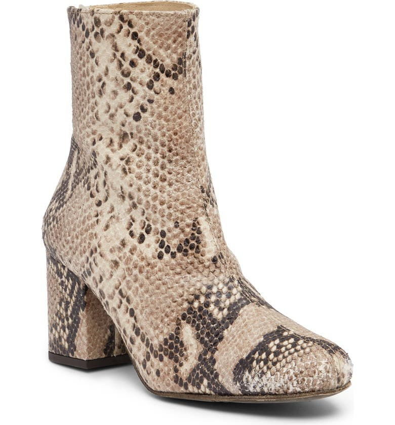 FREE PEOPLE Cecile Block Heel Bootie, Main, color, TAUPE SNAKE PRINT LEATHER