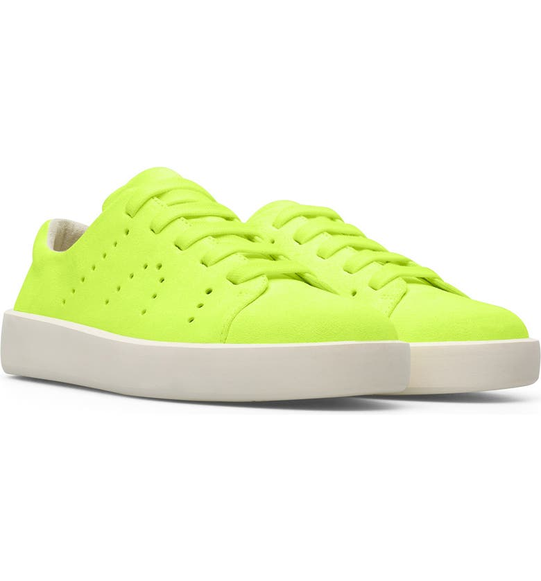 CAMPER Courb Perforated Suede Sneaker, Main, color, BRIGHT YELLOW
