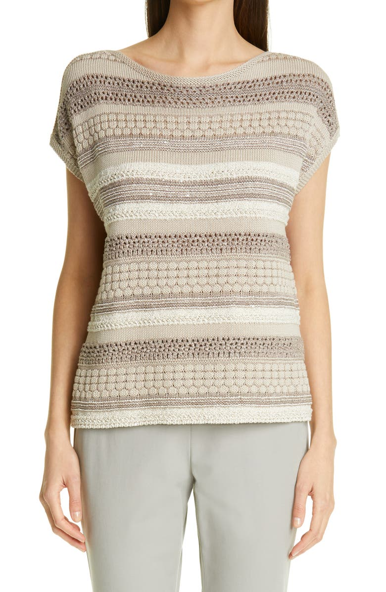 LAFAYETTE 148 NEW YORK Mixed Stitch Sequin Sweater, Main, color, 230
