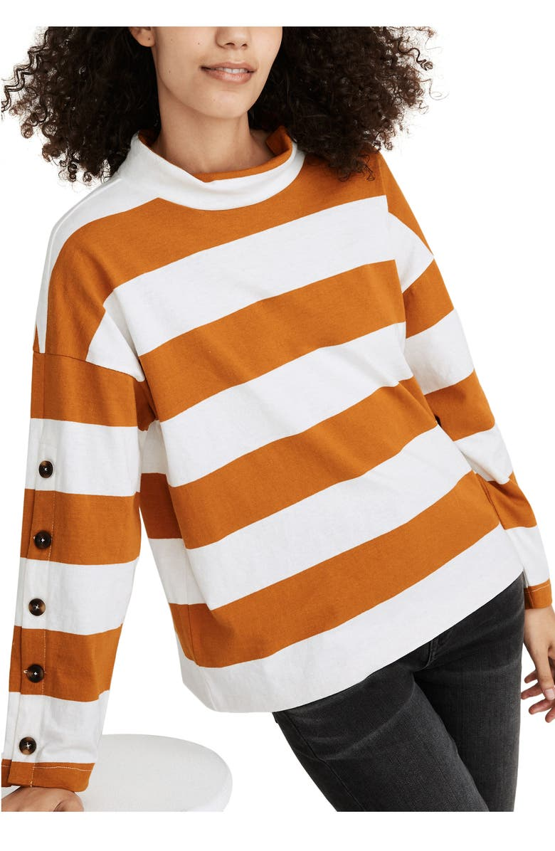 MADEWELL Striped Button Sleeve Organic Cotton Turtleneck Top, Main, color, RICH AMBER