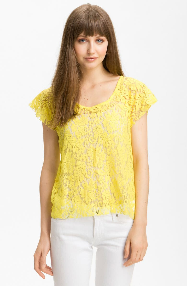 MAN REPELLER X PJK Patterson J. Kincaid Relaxed Lace Tee, Main, color, GREEN SHEEN