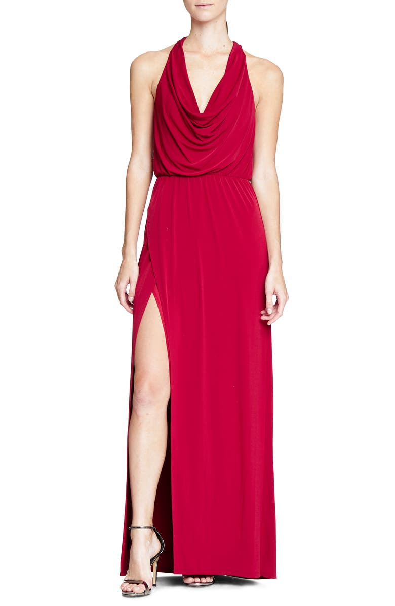 HALSTON HERITAGE Cowl Neck Gown, Main, color, 608