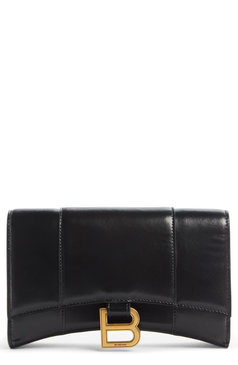 BALENCIAGA Hourglass Leather Wallet on a Chain, Main, color, 001