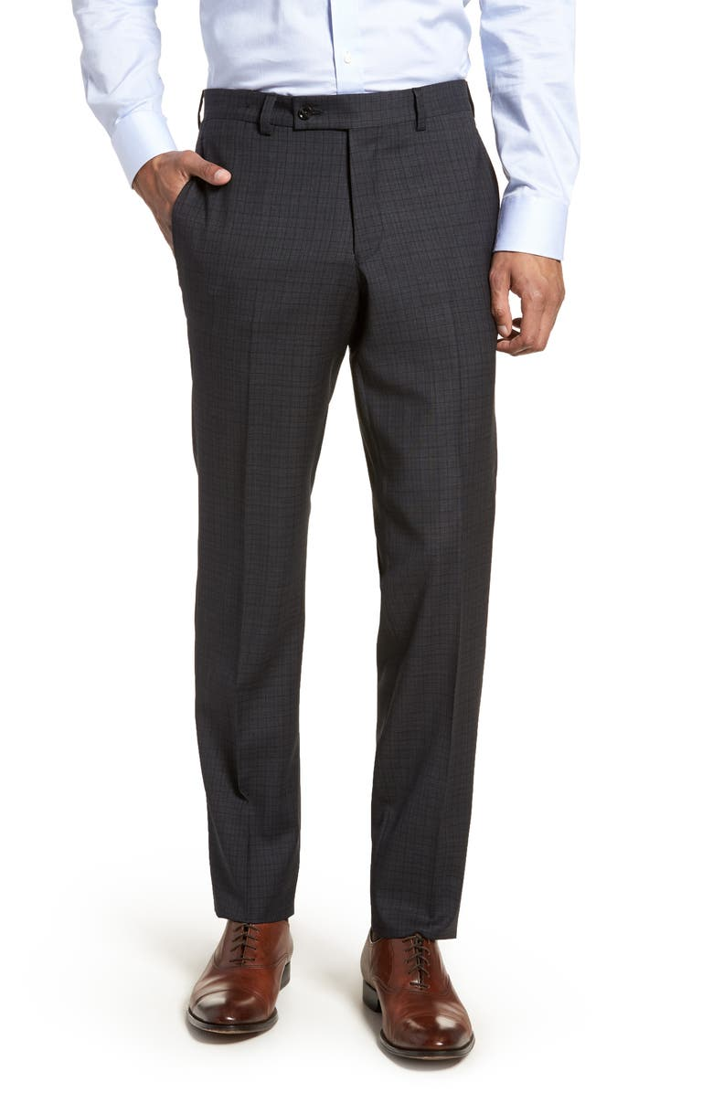 TED BAKER LONDON Jefferson Flat Front Check Wool Trousers, Main, color, Grey