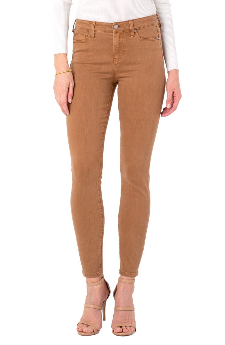 LIVERPOOL Penny Ankle Skinny Jeans, Main, color, BROWN BAY