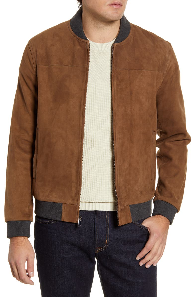 NORDSTROM SIGNATURE Suede Bomber Jacket, Main, color, 210
