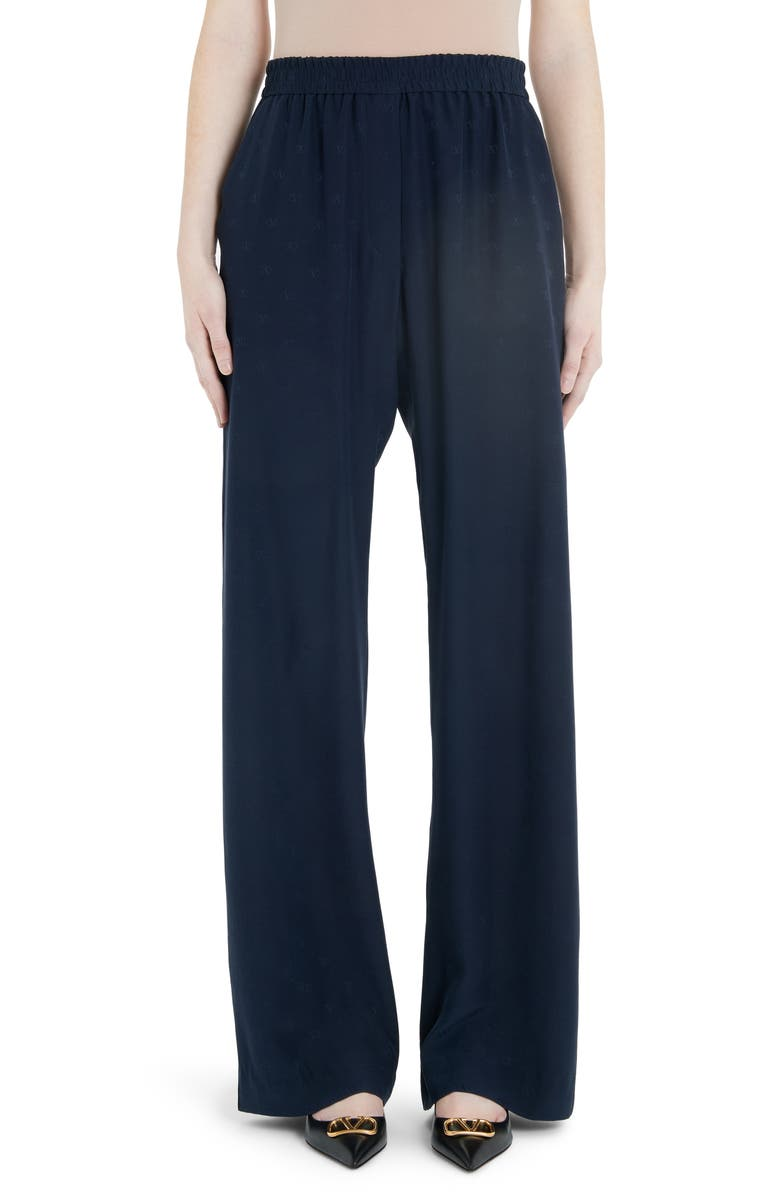 VALENTINO Logo Jacquard Silk Satin Wide Leg Pants, Main, color, 400