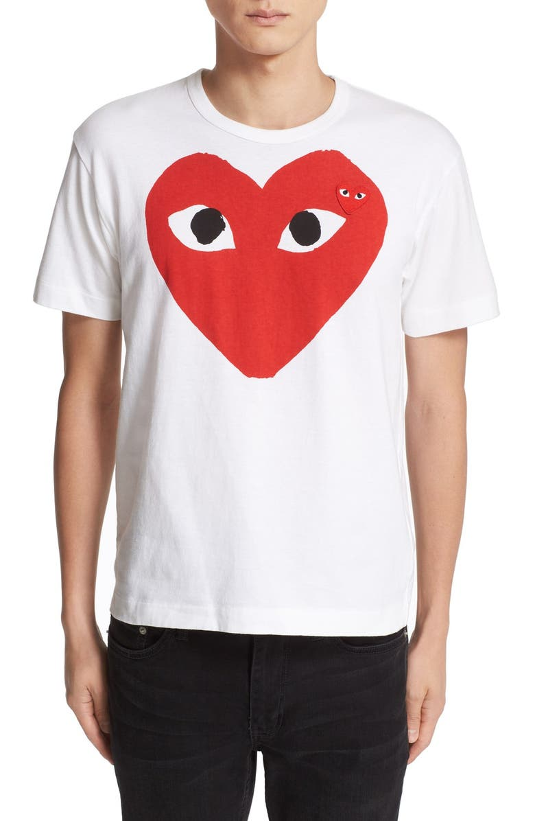 COMME DES GARÇONS PLAY Heart Face Graphic Tee, Main, color, WHITE