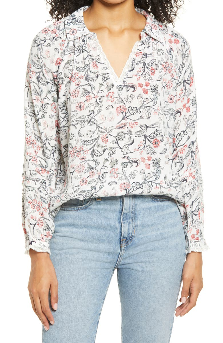 LUCKY BRAND Floral Popover Shirt, Main, color, 100