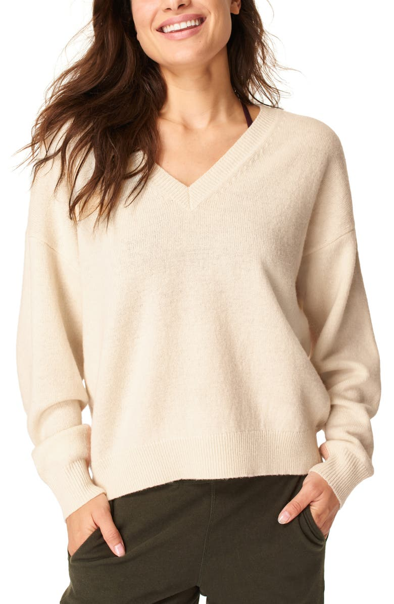 SWEATY BETTY Recline Wool V-Neck Sweater, Main, color, LILY WHITE