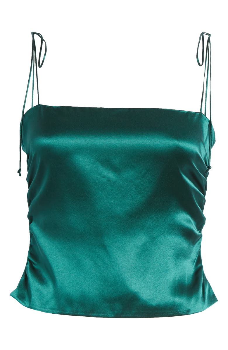 REFORMATION Lucrezia Ruched Silk Camisole, Main, color, EMERALD