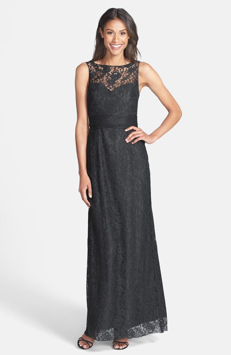 AMSALE Illusion Yoke Lace Gown, Main, color, PEWTER