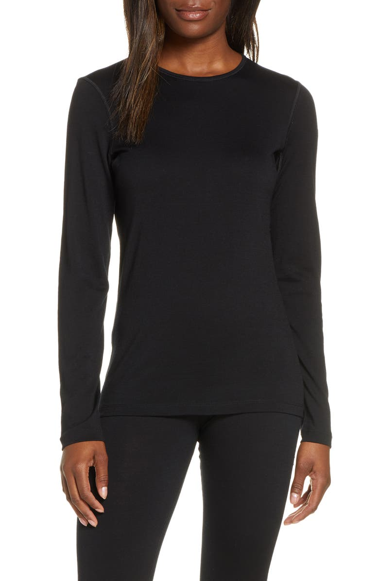 ICEBREAKER Oasis Long Sleeve Merino Wool Base Layer Tee, Main, color, BLACK