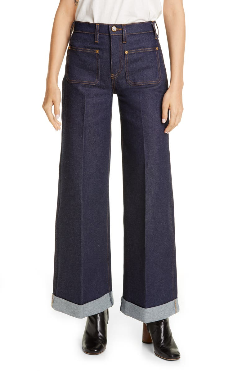KHAITE The Ray Roll Cuff Wide Leg Jeans, Main, color, 400