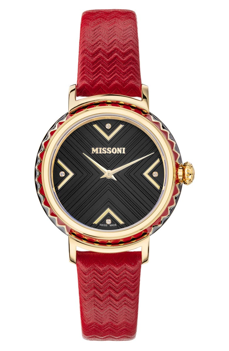 MISSONI Chevron Joy Leather Strap Watch, 37mm, Main, color, YELLOW GOLD / BLACK
