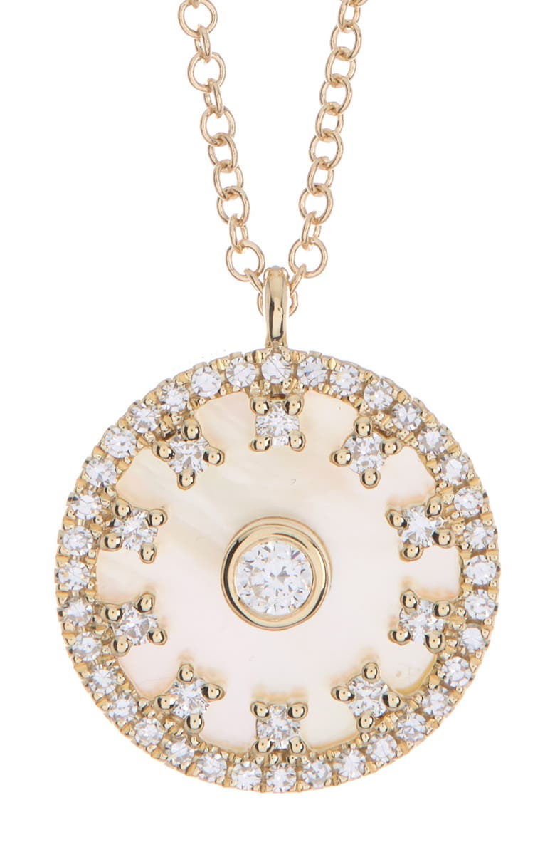 RON HAMI 14K Yellow Gold Diamond Mother of Pearl Necklace - 0.25 ctw, Main, color, YELLOW GOLD/MOP/DIAMOND