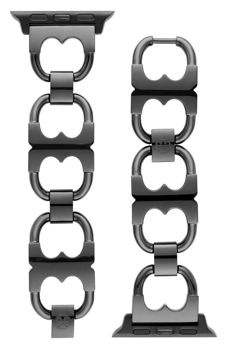 TORY BURCH Gemini Link Black Stainless Steel Band for Apple Watch<sup>®</sup>, 38mm/40mm, Main, color, BLACK