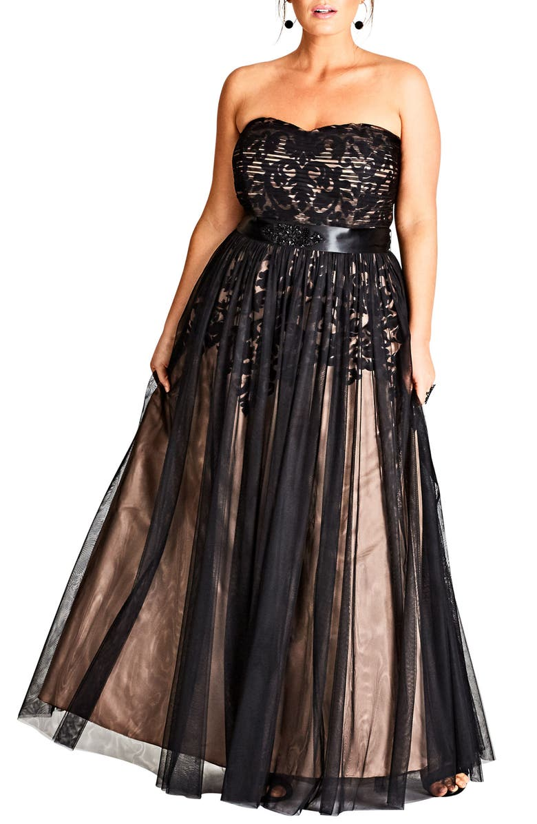 CITY CHIC Embellished Tulle Strapless Ballgown, Main, color, 001