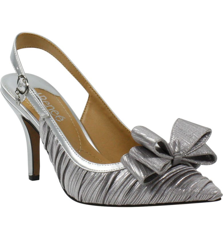 J. RENEÉ Charise Bow Pointed Toe Slingback Pump, Main, color, SILVER FABRIC