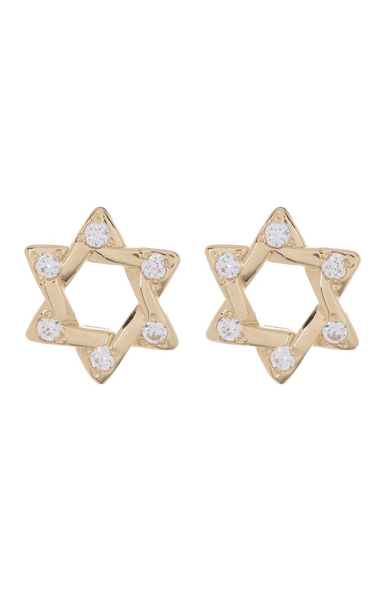 CANDELA JEWELRY 14K Yellow CZ Star of David Stud Earrings, Main, color, CLEAR