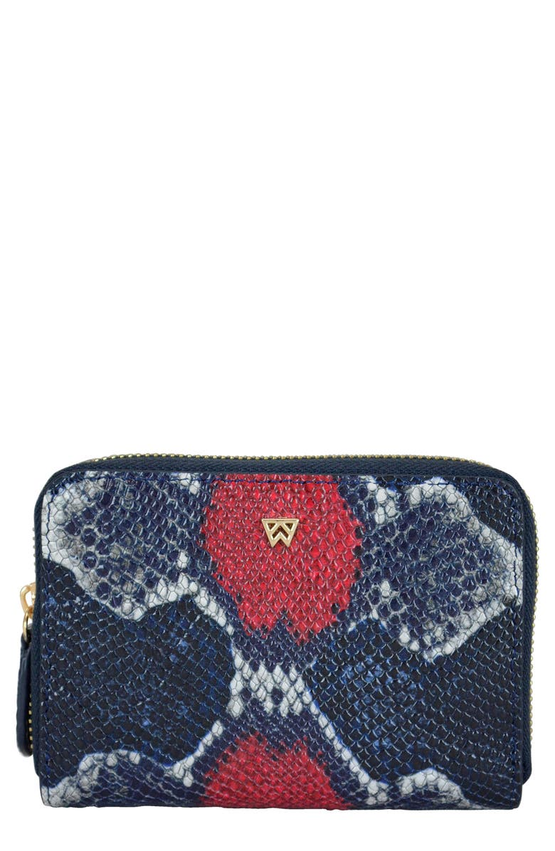 KELLY WYNNE Money Maker Leather Zip Wallet, Main, color, RED/ NAVY MULTI PYTHON