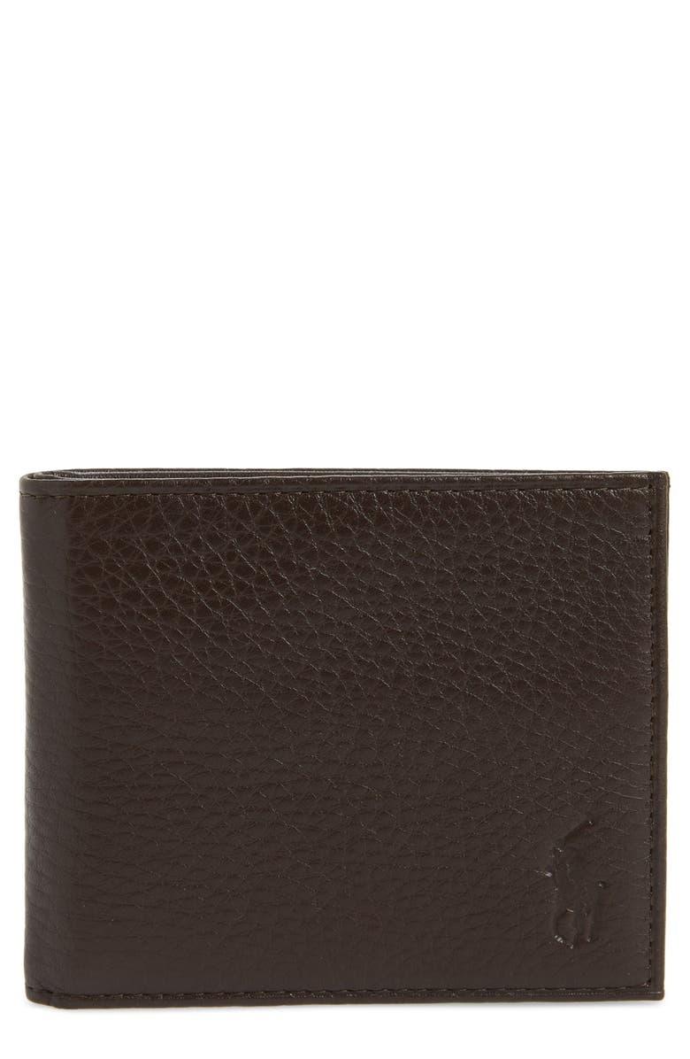 POLO RALPH LAUREN Bifold Leather Wallet, Main, color, BROWN