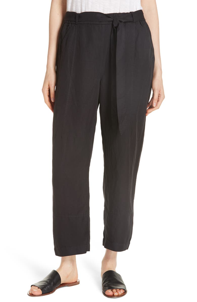 EILEEN FISHER Lantern Twill Ankle Pants, Main, color, 001