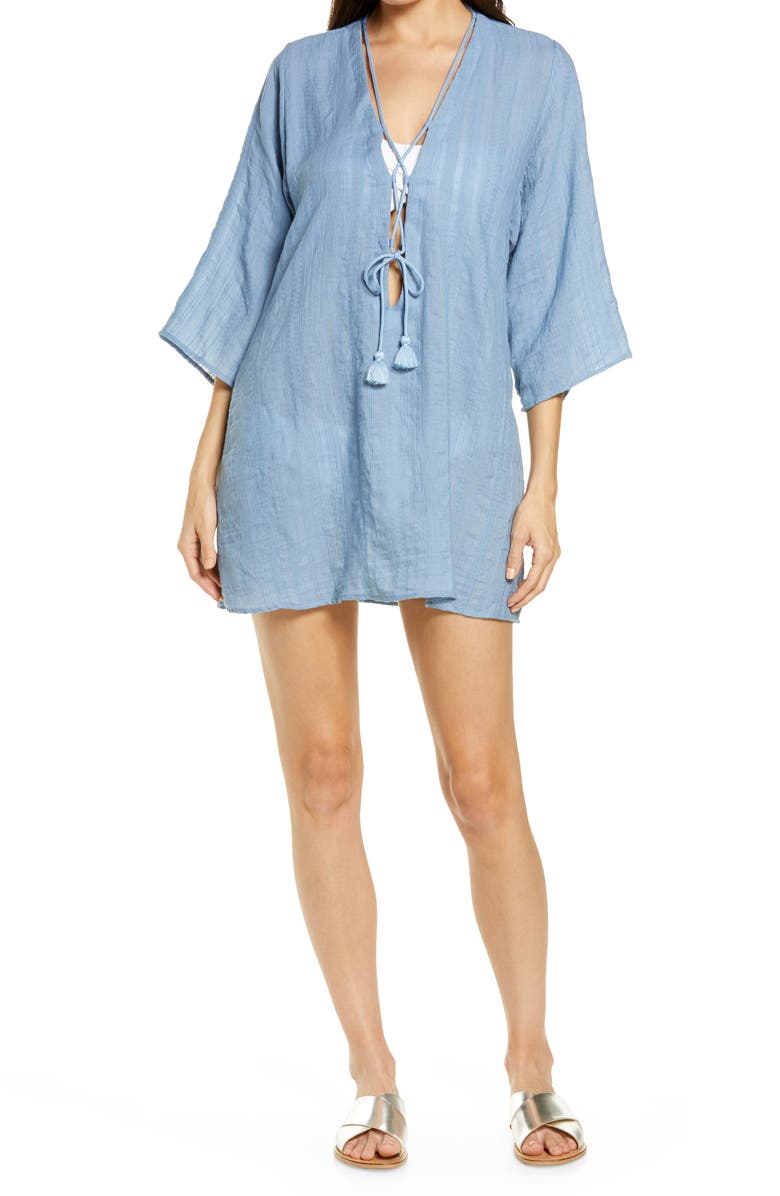 ROBIN PICCONE Michelle Tunic Cover-Up, Main, color, CHAMBRAY