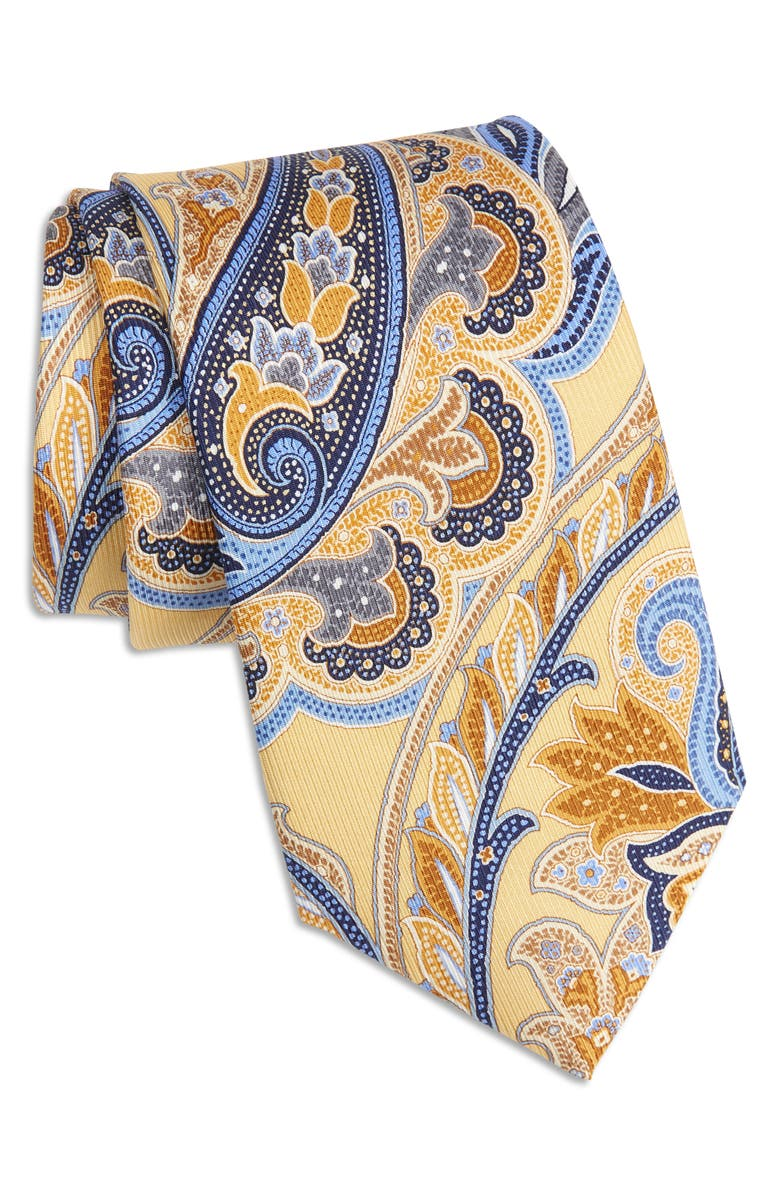 NORDSTROM Paisley Silk X-Long Tie, Main, color, YELLOW