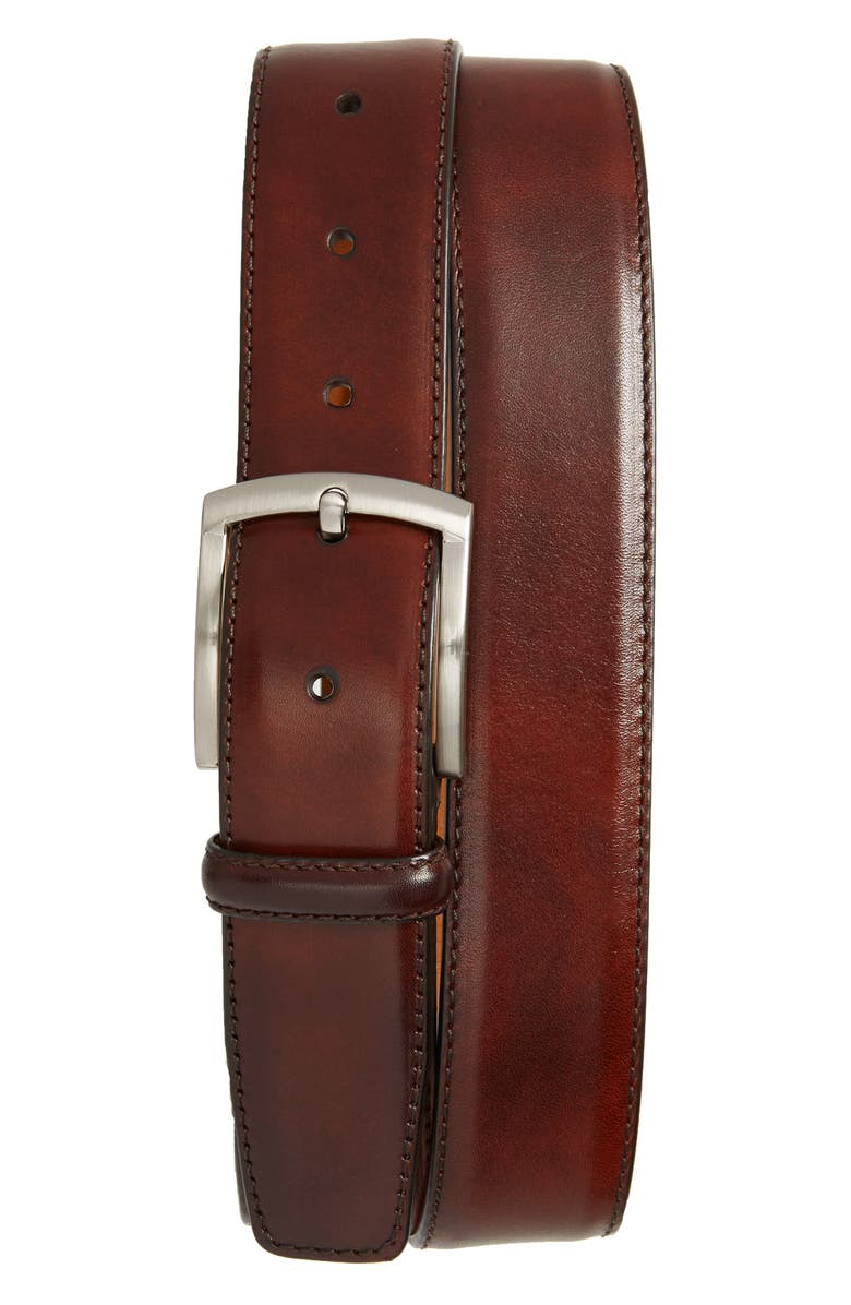 MAGNANNI Tanning Leather Belt, Main, color, TOBACCO