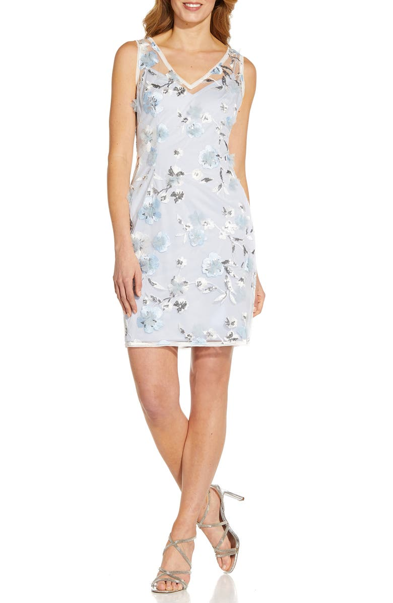 ADRIANNA PAPELL Floral Embroidery Sleeveless Sheath Dress, Main, color, CLEARWATER/ IVORY