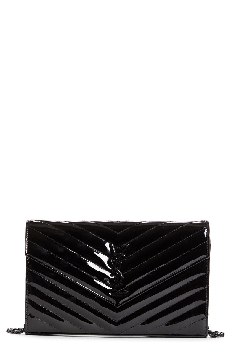 SAINT LAURENT Monogramme Quilted Patent Leather Wallet on a Chain, Main, color, NERO/NERO