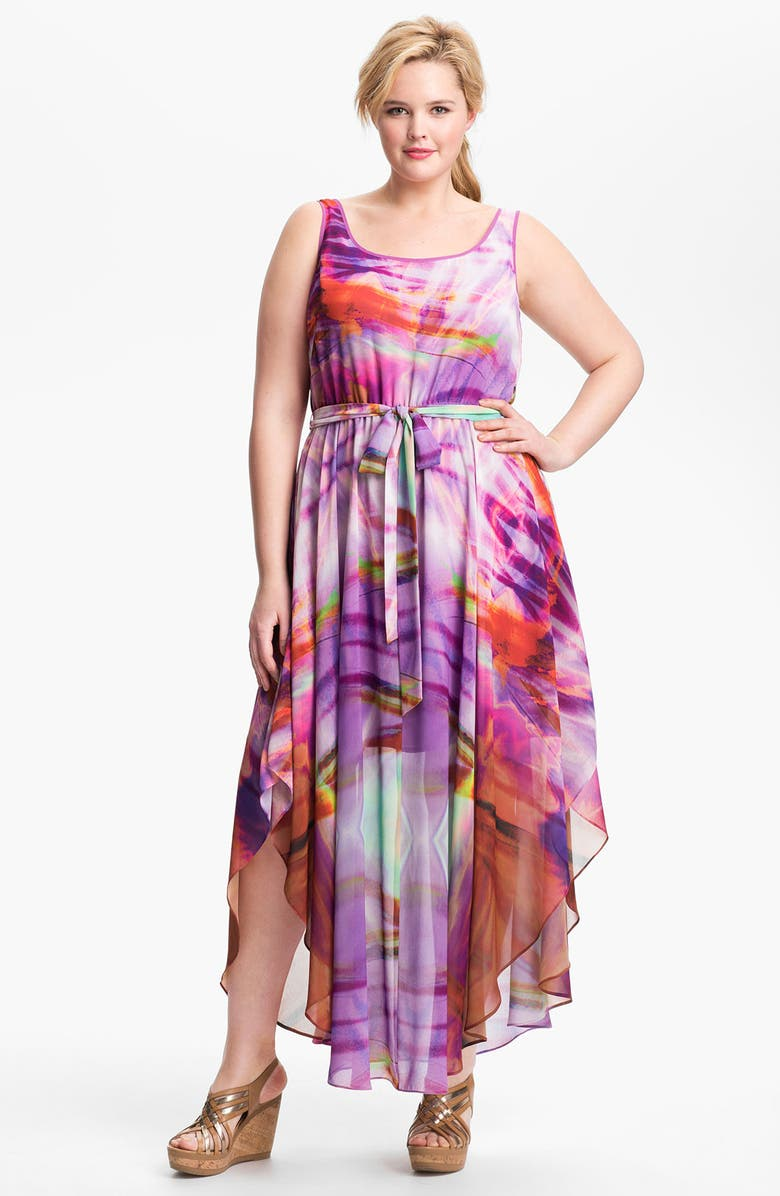 SUZI CHIN FOR MAGGY BOUTIQUE Ivy & Blu for Maggy Boutique Print Maxi Dress, Main, color, CAYENNE MULTI