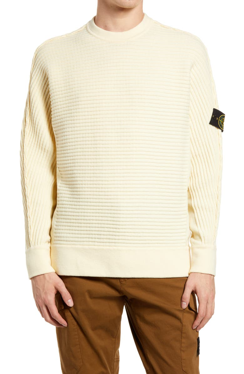 STONE ISLAND Logo Patch Slim Fit Knit Sweater, Main, color, BUTTER