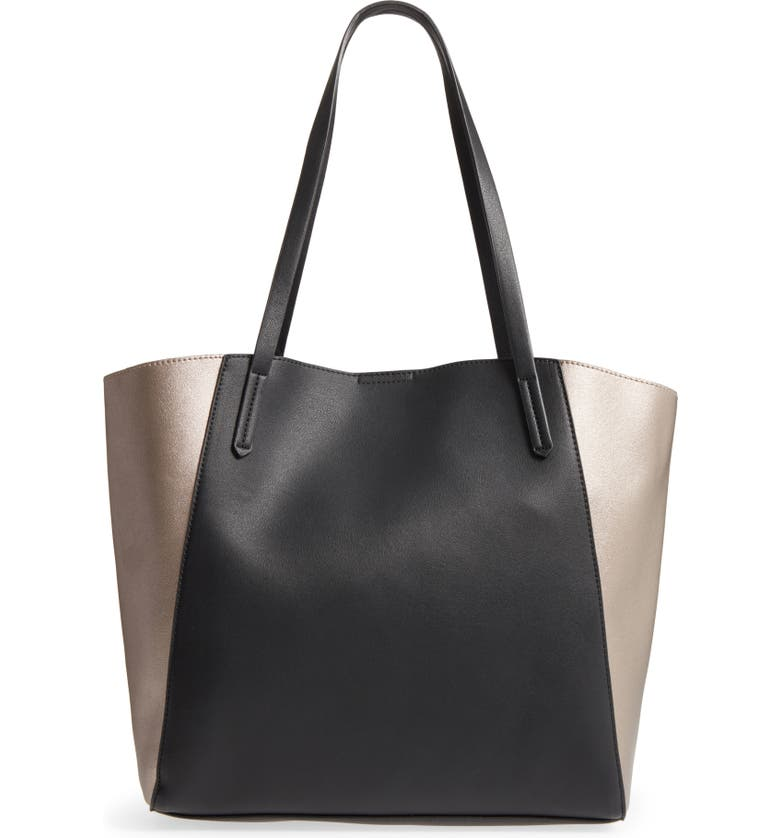 BP. Colorblock Faux Leather Tote, Main, color, 041