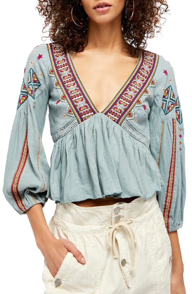 FREE PEOPLE Aria Embroidered Top, Main, color, 400