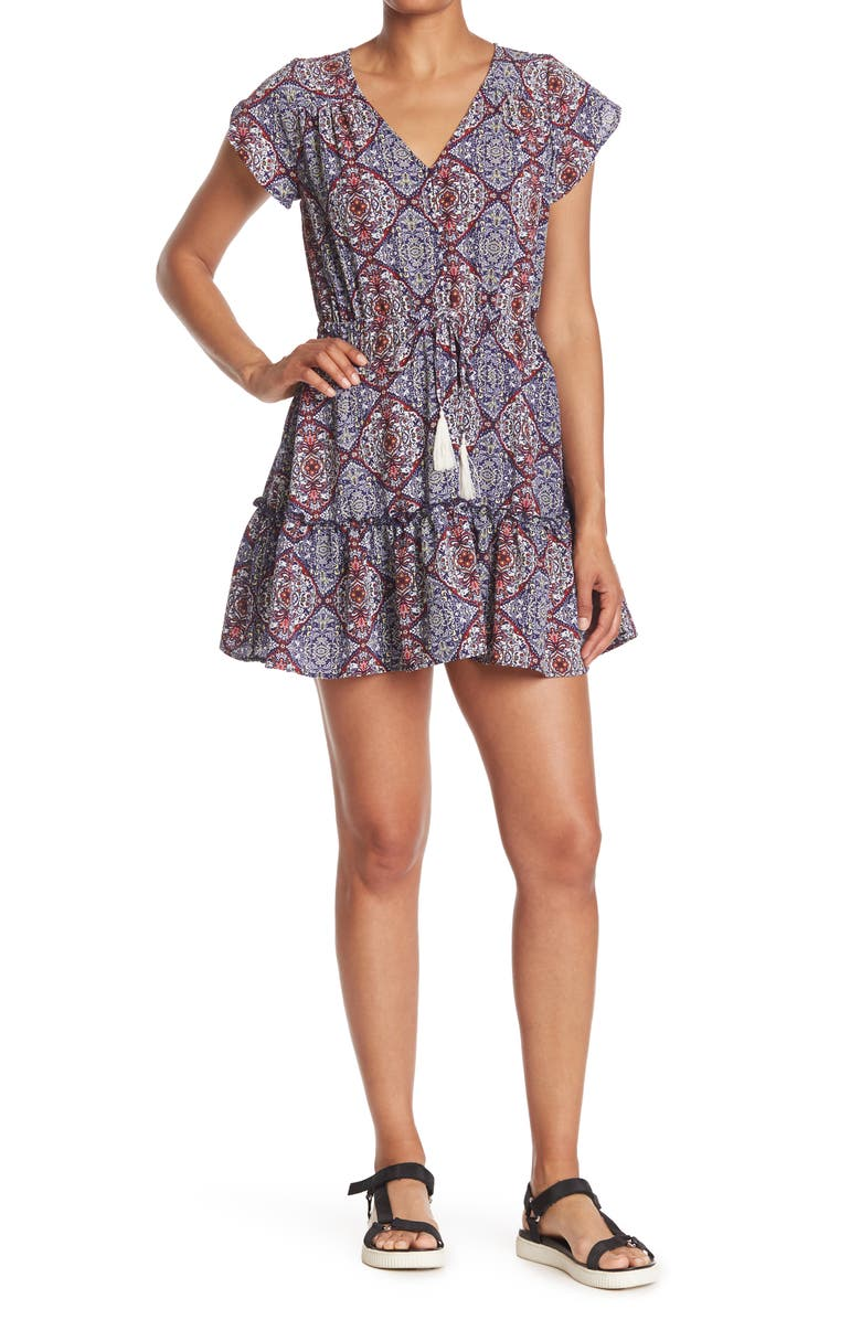 MAX AND ASH Printed Button Front Tassel Dress, Main, color, BLACK IVORY