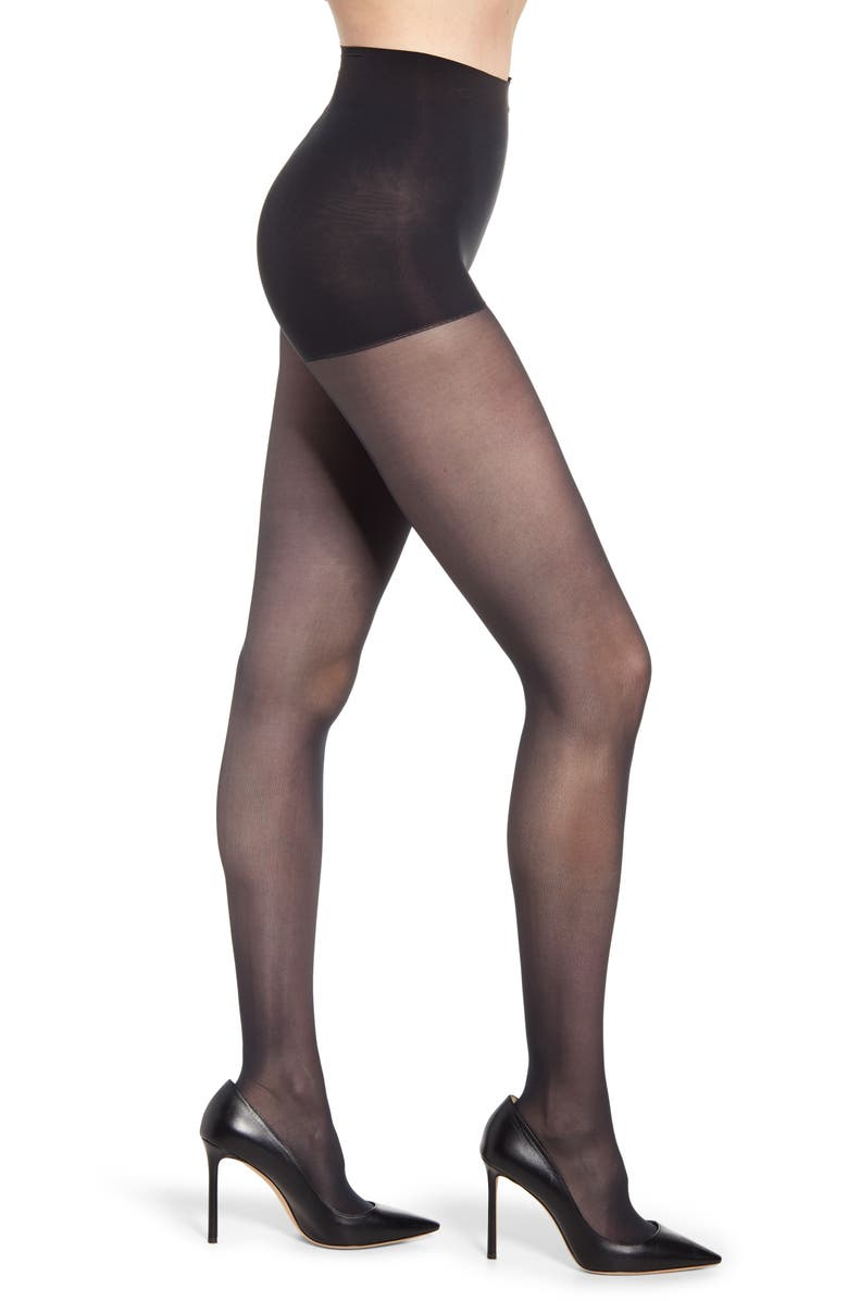 DKNY Light Opaque Control Top Tights, Main, color, NAVY