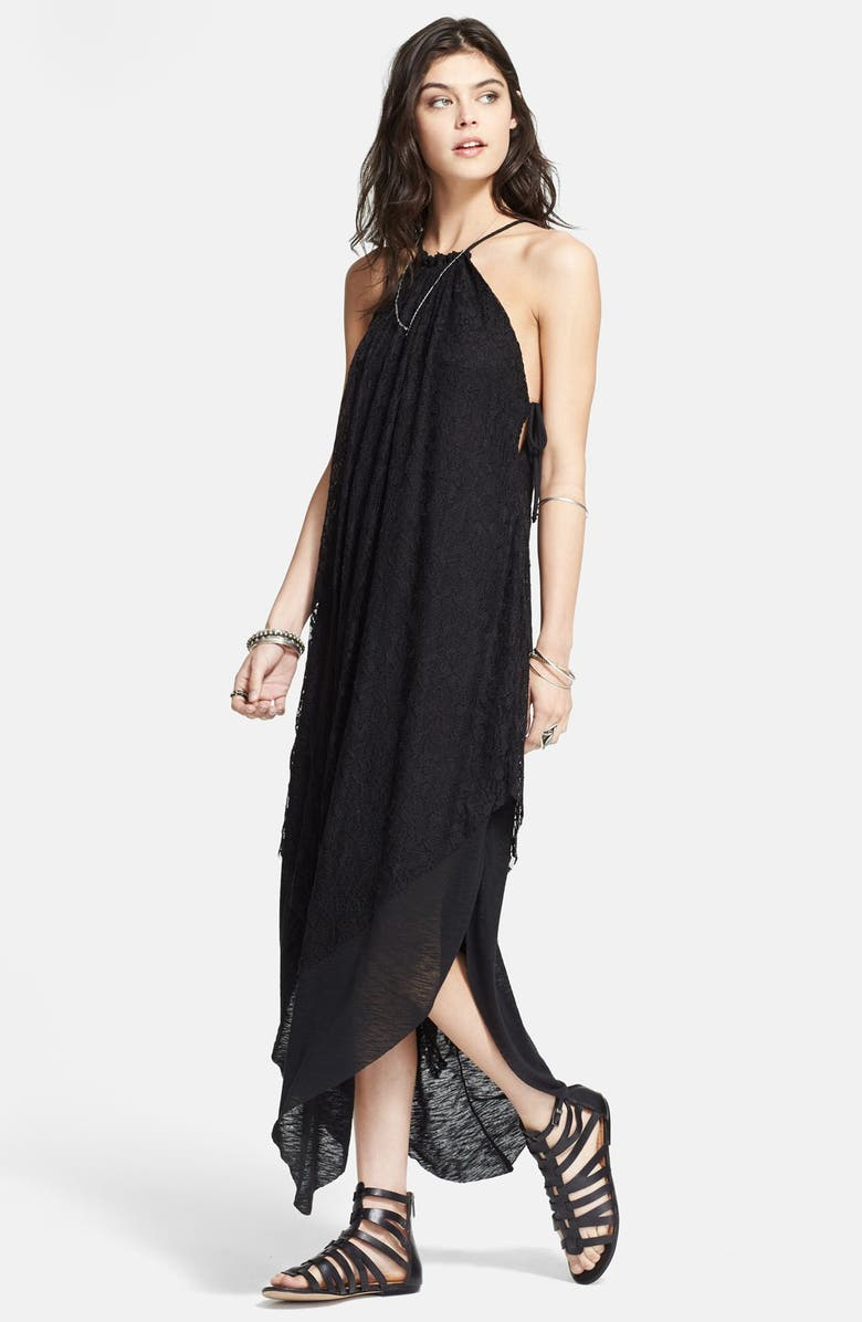 FREE PEOPLE 'Olympia' Lace Overlay Maxi Dress, Main, color, 001