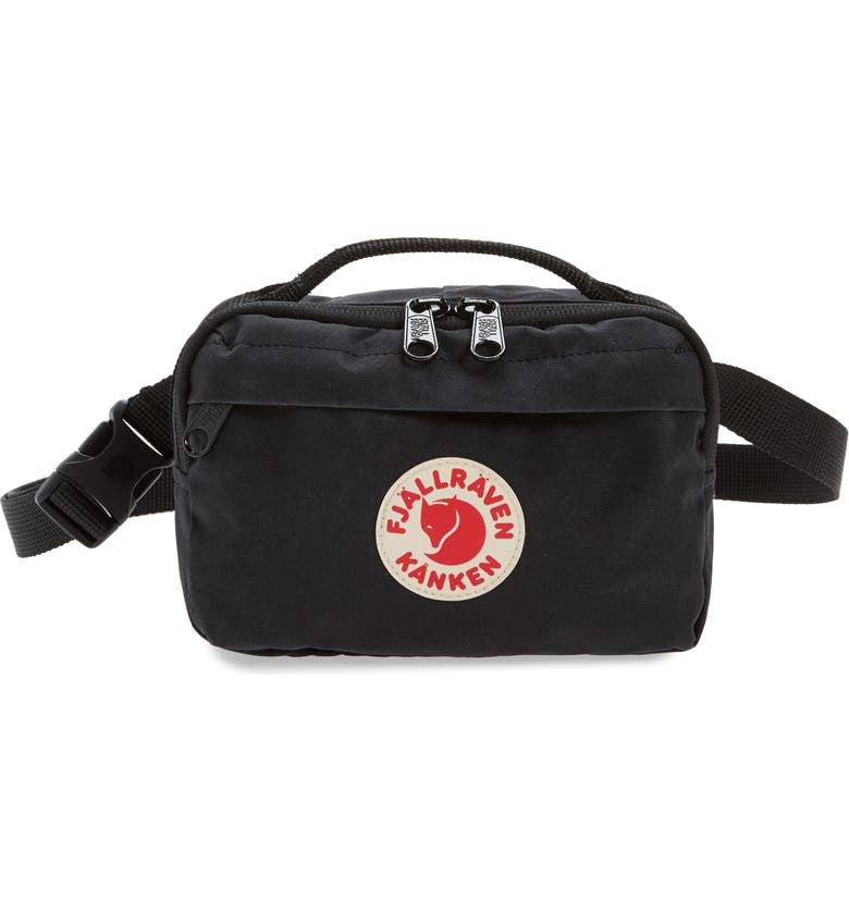 FJÄLLRÄVEN Kånken Water Resistant Belt Bag, Main, color, BLACK