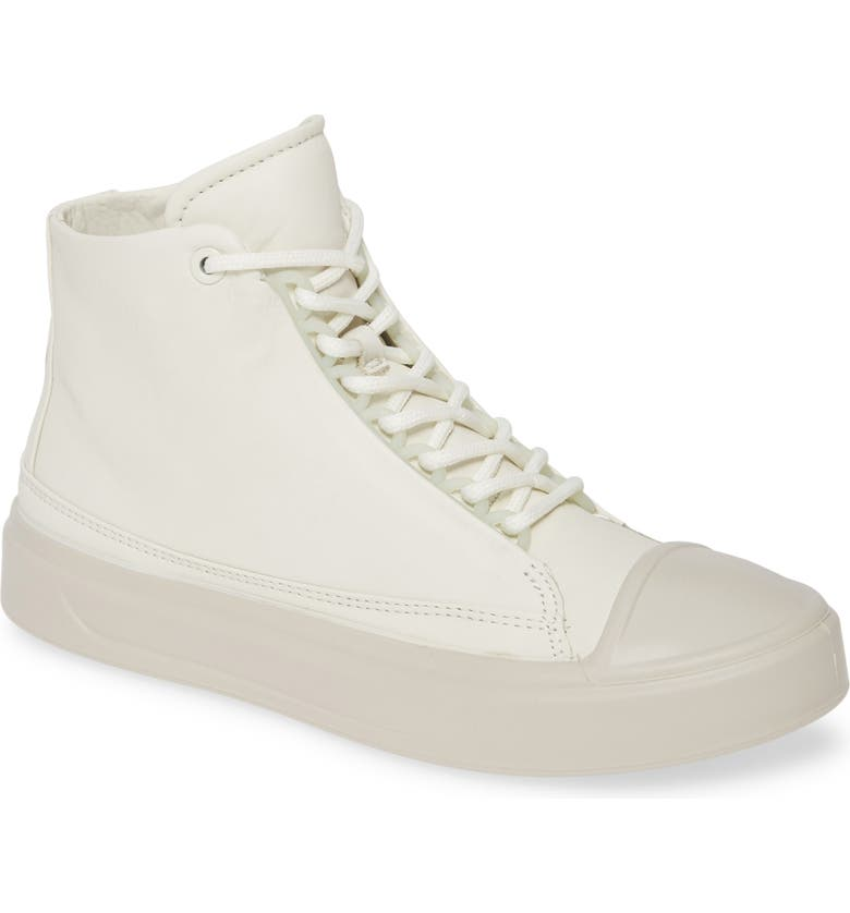 ECCO Flexure Cap Toe High Top Sneaker, Main, color, SHADOW WHITE LEATHER