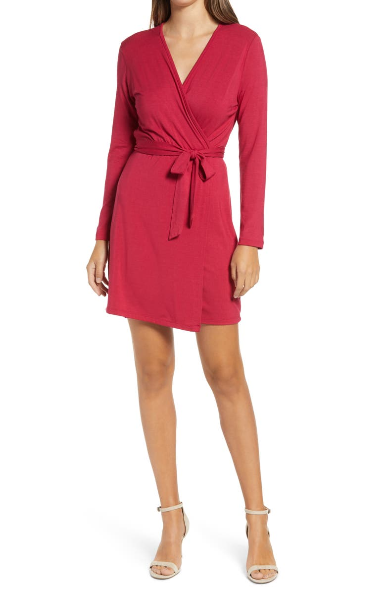 FRAICHE BY J Long Sleeve Wrap Dress, Main, color, DARK RED