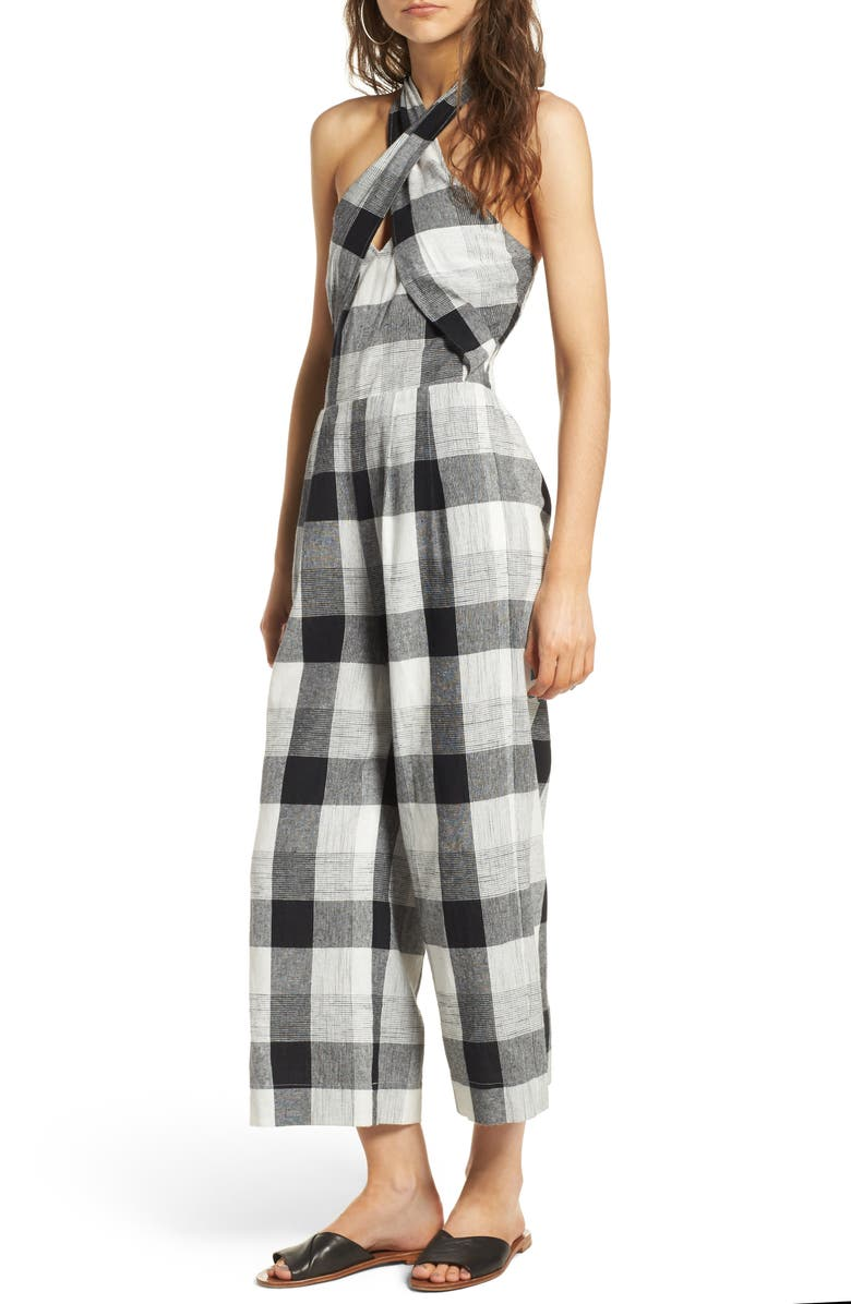 MOON RIVER Plaid Halter Jumpsuit, Main, color, 002